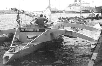 Olympus, le trimaran de Mike Birch sur la Route du Rhum 1978