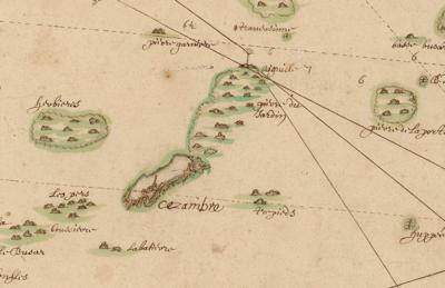 Carte Saint-Malo Ceézmbre marée basse (16è ou 17è)