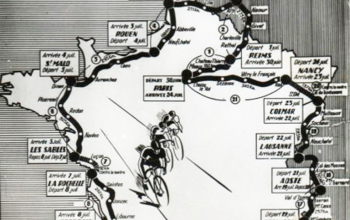 Carte Tour de France 1949 (zoom Bretagne)