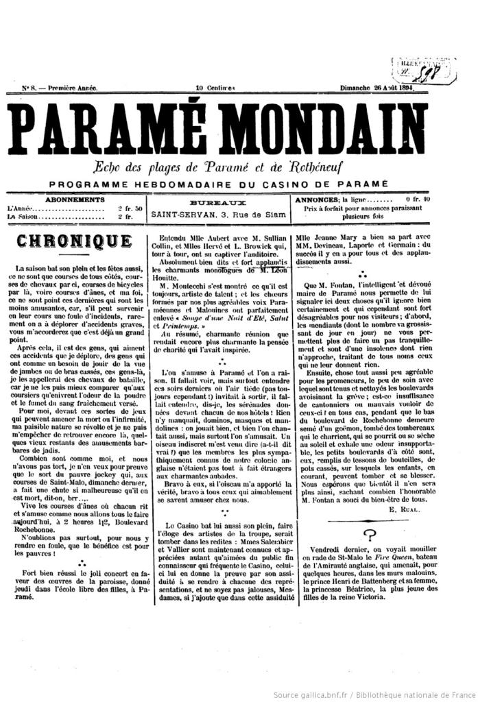 Extrait du journal Le Paramé Mondain