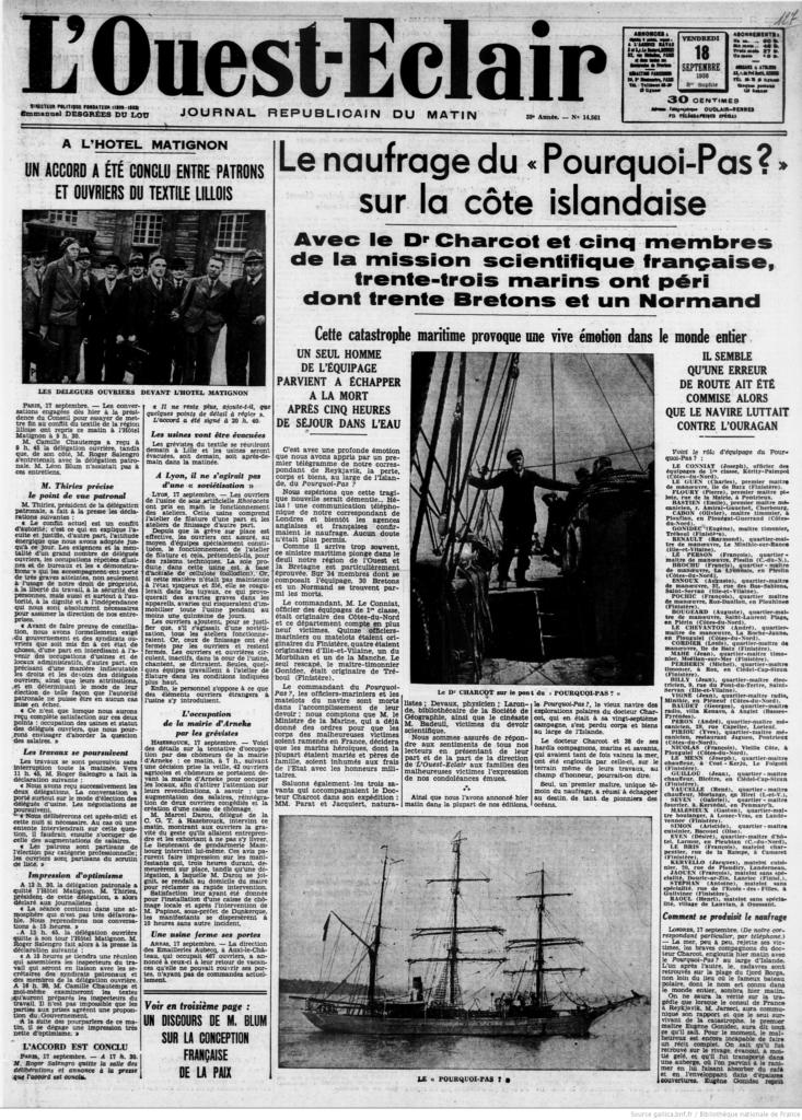 L'Ouest-Éclair - Édition du 18 septembre 1936