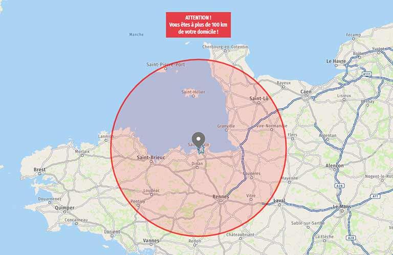 Carte 100 km autour de Saint-Malo